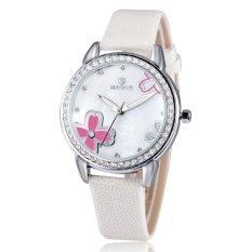 SKONE Luxury Brand Women Watch Rhinestone Leather Strap Shell Dial Clover Female Watch Hot Sale-White