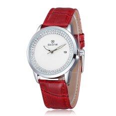 SKONE New Design Brand Fashion Quartz Leatehr Strap Watch For Women Ladies Casual Watch with Rhinestone Wristwatch- Red