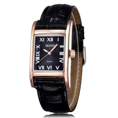 SKONE Women Luxury Fashion Casual Quartz Watch Roman Number Square Dial Leather Wristwatches Gold Black (Intl)