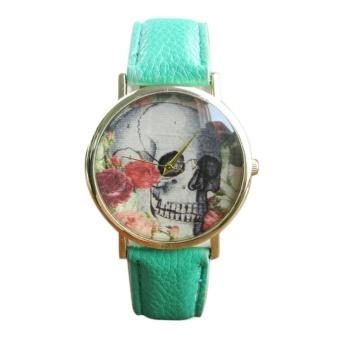 Skull Pattern Leather Band Analog Quartz Vogue Wrist Watch Green - intl