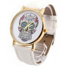 Skull Pattern Watch Women Leather Band Rope Quartz Watch Girls Bracelet Watches Gift Relogio Feminino White (Intl)