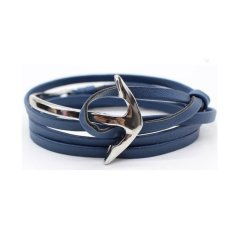 Sohoku Gelang Tali Kulit Kepala Jangkar Lengkung (Biru / Silver)