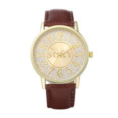 SOXY Business Casual Wrap Wrist Quartz Electronic Watch Golden Round Dial Analog Digital Display Zinc Alloy Case Brown PU Leather Strap Band 40mm