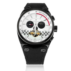 SPEATAK SP9050G Tourbillon Automatic Sun / Moon Display Mechanical Men's Canvas Leather Strap Watch - Black + White (Intl)