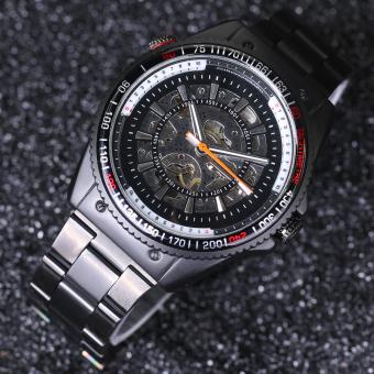 Sport Design Bezel Black Mens Montre Homme Clock Automatic Skeleton Watch