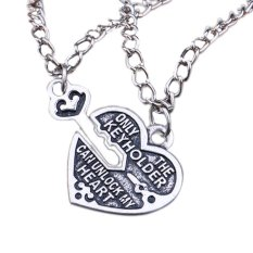 Sporter Women Girls Best Friends Necklaces Key Heart Pendant Chain Necklaces 1Pair Silver