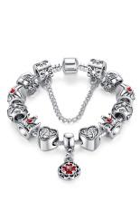 Sporter Women Heart Crown Bead Bracelet Vintage Jewelry Silver 18cm (Intl)