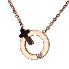 Stainless Steel Black Cross IP Rose Gold Ring CZ Pendant Necklace For Girls Women Best Friend Gift (Intl)