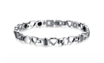 Stainless Steel Hollow Love And Hematite Inlayed Couple Bracelet For Woman