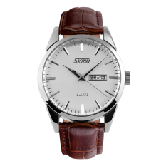 Svoovs Fashion Genuine Leather Strap Watch Men Really Waterproof Leather Fashion Men's Casual Double Calendar Quartz Watch