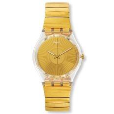 Swatch - Jam Tangan Wanita - Bening-Gold - Rubber Gold - GE244B