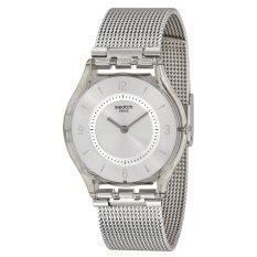 Swatch Jam Tangan Wanita - Silver - Resin - Knit Grey Milanese sfm118m