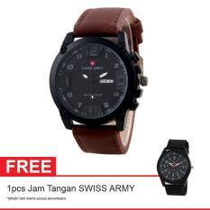 Swiss Army BOGOF Jam Tangan Pria - Kulit - Coklat -  SA 7169C BL BRW