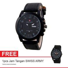 Swiss Army BOGOF Jam Tangan Pria - Kulit - Hitam - SA 7169C BL RD