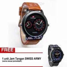 Swiss Army BOGOF SA 0066 Dual Analog - Jam Tangan Pria - Kulit Coklat Variasi Merah (Bonus SA 0063/64/65)