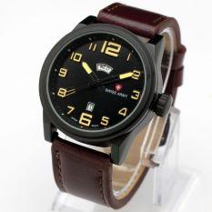 Swiss Army Casual Mens D45H90SA3787MCKT Daydate Jam Tangan Pria Leather Strap (Cokelat)