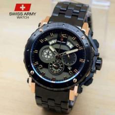 Swiss Army Crono Time - Jam Tangan Pria - Stainless Steel -SA-H-8777 Black