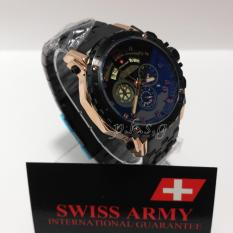 Swiss Army Crono Time - Jam Tangan Pria - Stainless Steel -SA-H-8777 Black