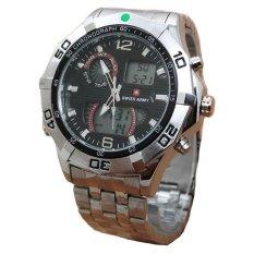 Swiss Army Dual Time - Jam Tangan Pria - Stainless Steel - SA 077 Silver Black
