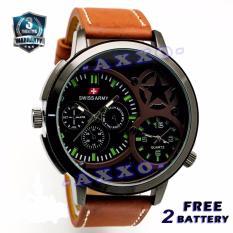 Swiss Army Dual Time - Jam Tangan Pria - Strap Kulit - Coklat Muda - SA 702