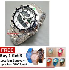 Swiss Army Dual Time - Jam Tangan Sport Pria - Stainless Steel - SA 1616 SW + Free Jam Q&Q Sport & Jam Geneva