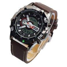 Swiss Army Dual Time SA1174LS - Jam Tangan Pria - Dual Time - Leather Strap - Coklat