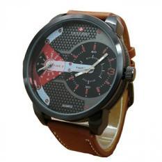 Swiss Army Dual Time SA1175SB Jam Tangan Pria - Dual Time - Leather Strap - Merah