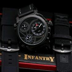 Swiss Army Infantry Full Set-Jam Tangan Pria Hitam
