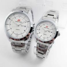 Silver Stainless Dial Putih Sa Source Swiss Army Jam Tangan Couple Stainless Steel .