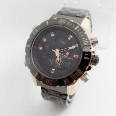 Swiss Army - Jam Tangan Dual Time - Stainless Steel - SA 1085 Black Gold Dual Time (Gold)