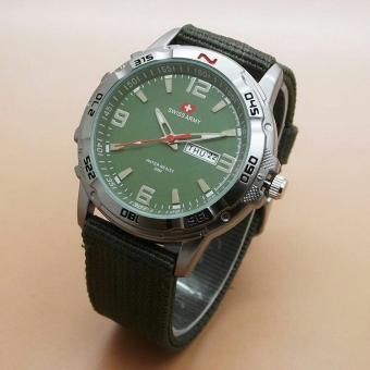 Swiss Army - Jam Tangan Kasual Pria - Canvas Strap - SA 1493 Green