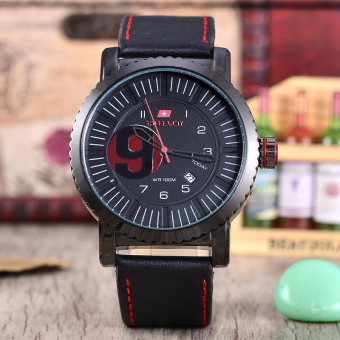 Swiss Army Jam Tangan Pria - Body Black - Black Dial - Black Leather strap -