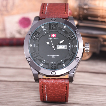 Swiss Army Jam Tangan Pria - Body Black - Black Dial - Brown Leather Strap -