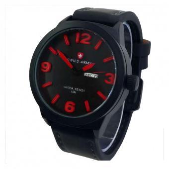 Swiss Army Jam Tangan Pria - Hitam - Strap Kulit Hitam - SA 4055 BLACK RED