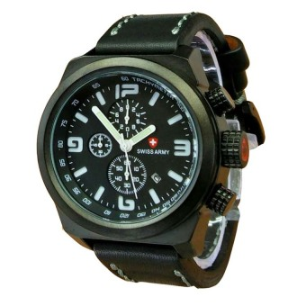 Swiss Army Jam Tangan Pria - Leather Strap - Hitam - SA 4068 BW