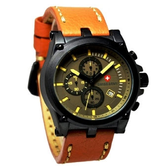 Swiss Army Jam Tangan Pria - Leather Strap - SA 4050 Coklat Muda
