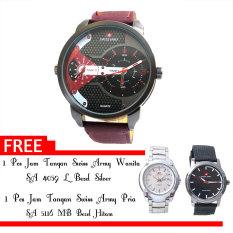 Swiss Army - Jam Tangan Pria - SA 620 Jarum Merah - Kulit - Dual Time + Gratis Jam Tangan Swiss Army