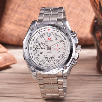 Swiss Army - Jam Tangan Pria - Silver - Stainless Steel Band - SA 5028 -
