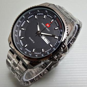 Swiss Army - Jam Tangan Pria - Silver - Strap Stainless - SA 2699BO hitam