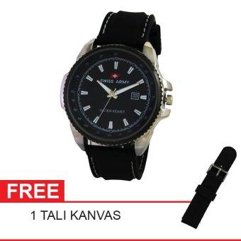 Swiss Army Jam Tangan Sport - Resin - Hitam - SA 12088 FB FREE KANVAS