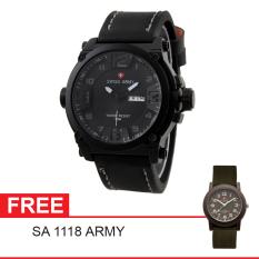 Swiss Army Mens Elegant - Hitam - Stainless / Kulit - SA 7169 BL GRY + Gratis Swiss Army SA 1118