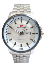 Swiss Army Men's Jam Tangan Pria - Body + Bezel Silver - Stainless Steel Back - TW 0967 G