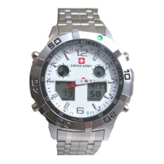 Swiss Army Men's - Jam Tangan Pria - Dual Time - Silver - SA 1101 M Bezel Silver - Stainless Steel Back