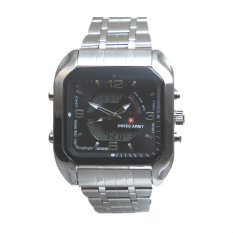 Swiss Army Men's - Jam Tangan Pria - Dual Time - Silver - SA 8004 M Bezel Hitam - Stainless Steel Back