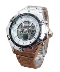 Swiss Army Mens - Jam Tangan Pria - Dual Time - Stainless Steel - Silver