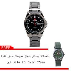 Swiss Army Men's - Jam Tangan Pria - SA 4150 M Body + Bezel Hitam - Silver - Stainless Steel + Gratis Jam Tangan Swiss Army
