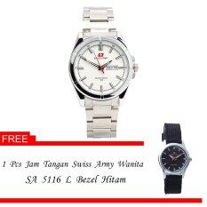 Swiss Army Men's - Jam Tangan Pria - SA 4150 M Body + Bezel Silver - Silver - Stainless Steel + Gratis Jam Tangan Swiss Army