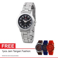 Swiss Army Quartz Watch SA 6033L SS BL Free Jam Tangan Fashion - Jam Tangan Wanita - Silver