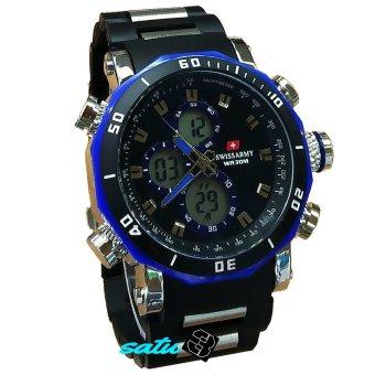 Swiss Army SA1100DT-Jam tangan pria-dualtime-stainless steel-hitam biru