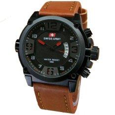 Swiss Army Tanggal SA7169 Jam Tangan Pria Strap Leather Coklat Lis Merah